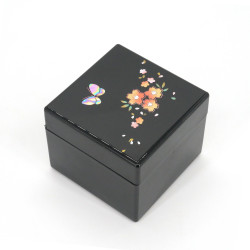 Japanese black musical jewelry box, CHO TO HANA, butterflies and flowers.