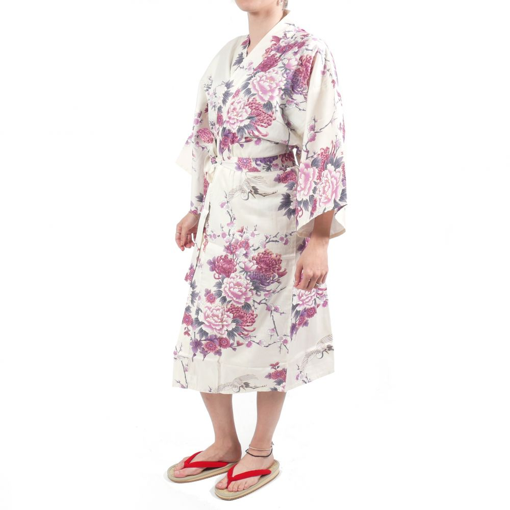 Japanese traditional white cotton sateen happi coat kimono flying crane and peony for ladies