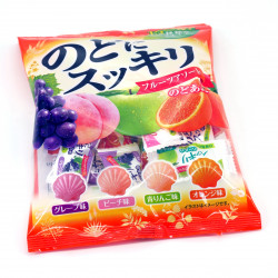 Hard fruit candies, assortment of 4 flavours, NODO NI SUKKIRI