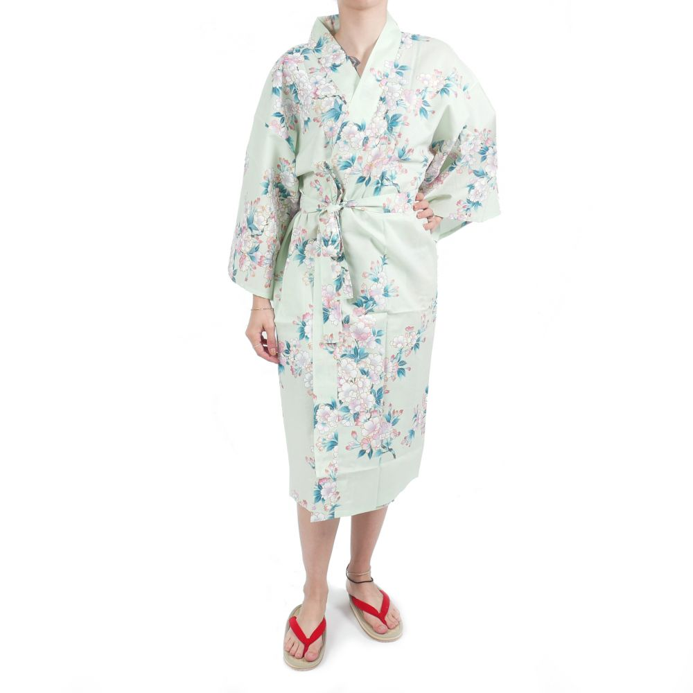 happi traditional japanese turquoise cotton kimono white cherry blossoms for women
