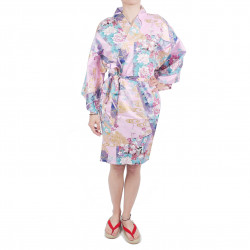 hanten traditional japanese kimono pink satin cotton little princess for women