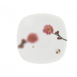 Japanese square ceramic incense holder, YUME SAKURA, cherry blossom