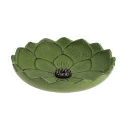 Japanese green cast iron incense burner, IWACHU LOTUS, lotus flower