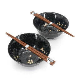 Japanese 2 ramen bowls set in ceramic with chopsticks MANEKINEKO red and blue