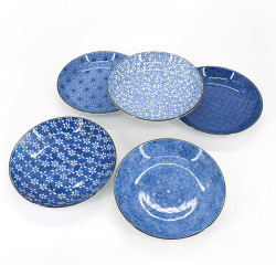 Set of 5 Japanese round plates - PATANSETTO