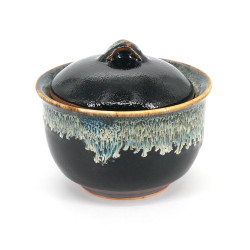 Traditional mug with lid - SHIZUKU, black and gray-blue drips