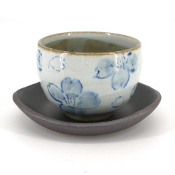 Japanese earthenware cup SAKURA blue flowers and gray saucer