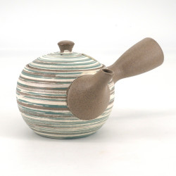 Japanese tokoname teapot, RASEN, beige, green and white spiral