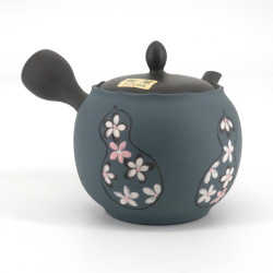 Japanese tokoname teapot, SAKURA, gray and blue, white flowers