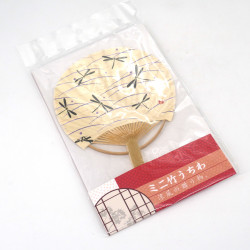 Small non-folding Japanese fan uchiwa, TOMBO, dragonfly