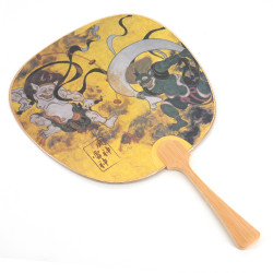 Small non-folding Japanese fan uchiwa, FUJIN RAIJIN