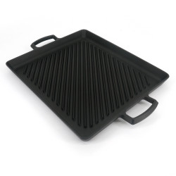 Japanese rectangular cast iron dish for grilling, YAKINIKU NABEMONO
