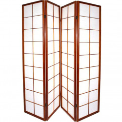 japanese screen made of wood and paper, petits carreaux, red