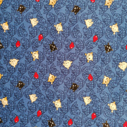 Japanese blue cotton fabric, NEKO Doku cat and fish patterns