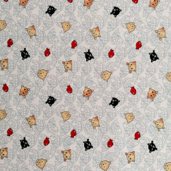 Japanese white cotton fabric, NEKO Doku cat and fish patterns
