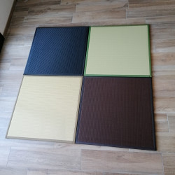 Japanese carpet in polypropylene, SQUASH, easy to clean, green beige black and brown.