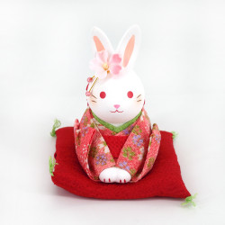 White ceramic rabbit ornament, HANAUSAGI OJIGI, red kimono