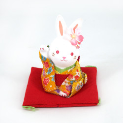 Ceramic rabbit ornament, The HANAUSAGI rabbit, yellow kimono