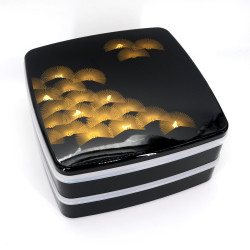 Large jyubako lunch box, MATSU, black and gold
