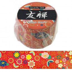 Masking tape, Red flower, YUZEN WASHI TAPE