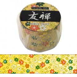 Large masking tape, Yellow flower, YUZEN WASHI TAPE