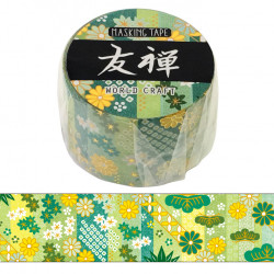Large masking tape, Green flower, YUZEN WASHI TAPE