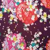 Japanese purple polyester chirimen fabric with cherry blossom motif, SAKURA, made in Japan width 112 cm x 1m