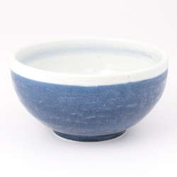 japanese white and blue soup bowl in ceramic AOSHIRO