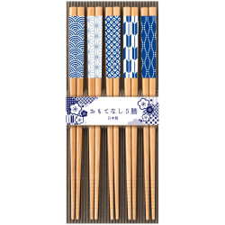 Set of 5 Japanese chopsticks in natural wood - KISSHO