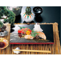 sushi tray, rectangle, black lacquered effect, NAMI