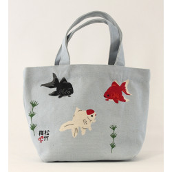 Small white Japanese cotton tote bag, KINGYO