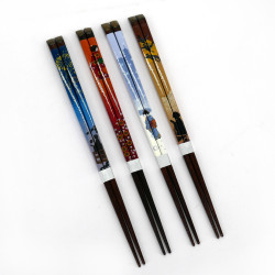 Set of 4 Japanese chopsticks in natural wood - WAKASA NURI SHIZUN