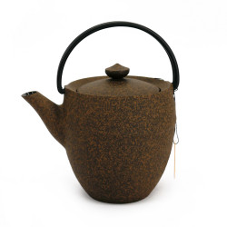 Small Japanese prestige high cast iron teapot, CHÛSHIN KÔBÔ MARUTSUTSU, yellow