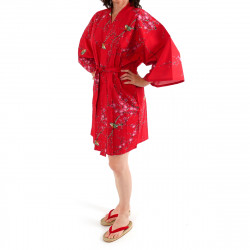 Japanese traditional red cotton hanten kimono plum and bush warbler for ladies