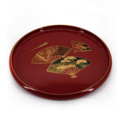 red lacquered effect tray, KENROKU, fans