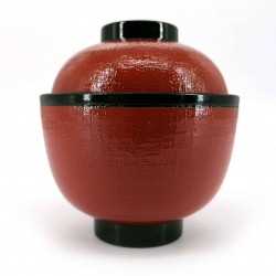 Soup bowl with lid, black and red - TEKUSUCHA