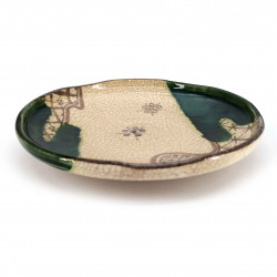 Japanese round ceramic plate, beige and green - ORIBE