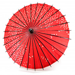 Japanese traditional red umbrella, WAGASA AKAI SAKURA, cherry blossom