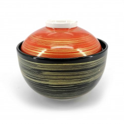 Japanese ceramic rice bowl with lid, black, red and gold, HOSOI SEN