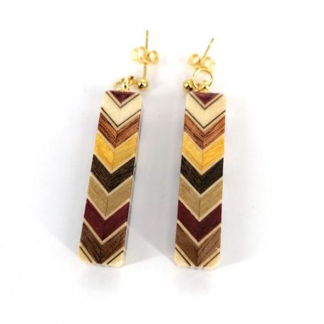 Japanese earrings covered with traditional Hakone marquetry, YOSEGI