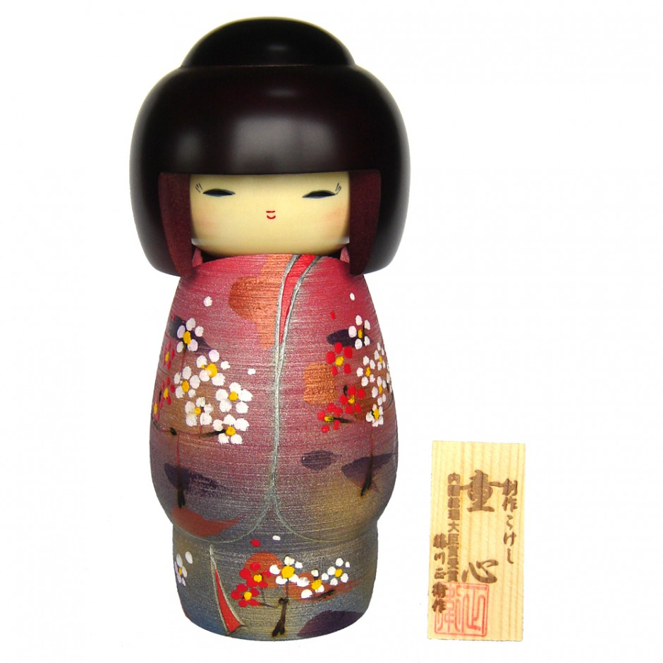 Japanese doll wooden KOKESHI. handmade in Japan - SYUNBKO