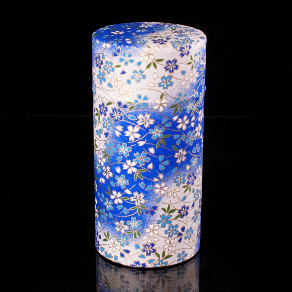 Japanese tea box made of washi paper, VENT, blue