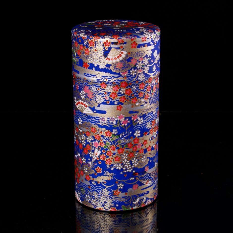 Japanese tea box made of washi paper, EVENTAILS, blue