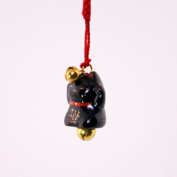 Japanese cat decorative hook for phone, MANEKINEKO, black