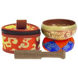 Tibetan bowl with red symbols and its handcrafted storage pouch, 7.5 cm