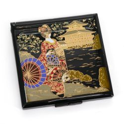 Japanese black square pocket mirror in resin with geisha and temple pattern, MAIKO, 7cm