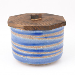 Japanese ceramic bowl with wooden lid
