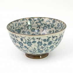 Japanese ceramic rice bowl, KKUYUKO, karakusa