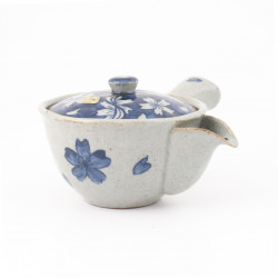 Japanese ceramic teapot, SAKURA, blue
