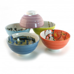set of 5 Japanese rice bowls Deco fish 16M91145